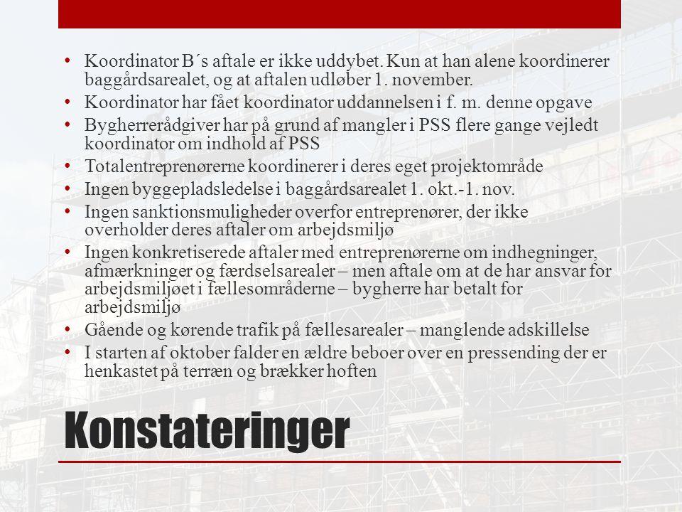 Konstateringer Koordinator B´s aftale er ikke uddybet.
