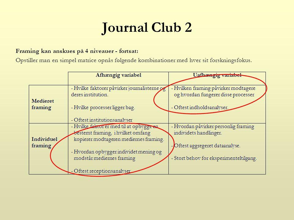 Journal Club 2 Framing kan anskues på 4 niveauer - fortsat: Opstiller man en simpel matrice opnås følgende kombinationer med hver sit forskningsfokus.