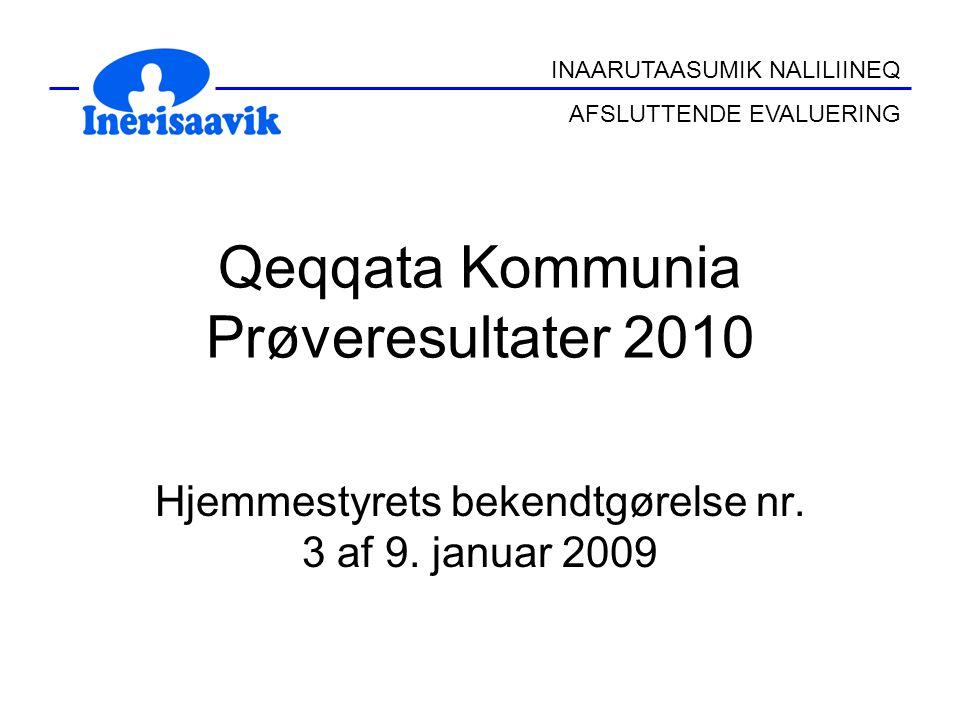 INAARUTAASUMIK NALILIINEQ AFSLUTTENDE EVALUERING Qeqqata Kommunia Prøveresultater 2010 Hjemmestyrets bekendtgørelse nr.