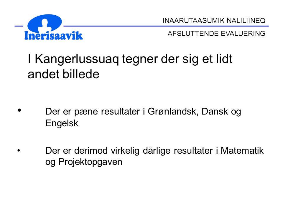 I Kangerlussuaq tegner der sig et lidt andet billede Der er pæne resultater i Grønlandsk, Dansk og Engelsk Der er derimod virkelig dårlige resultater i Matematik og Projektopgaven INAARUTAASUMIK NALILIINEQ AFSLUTTENDE EVALUERING