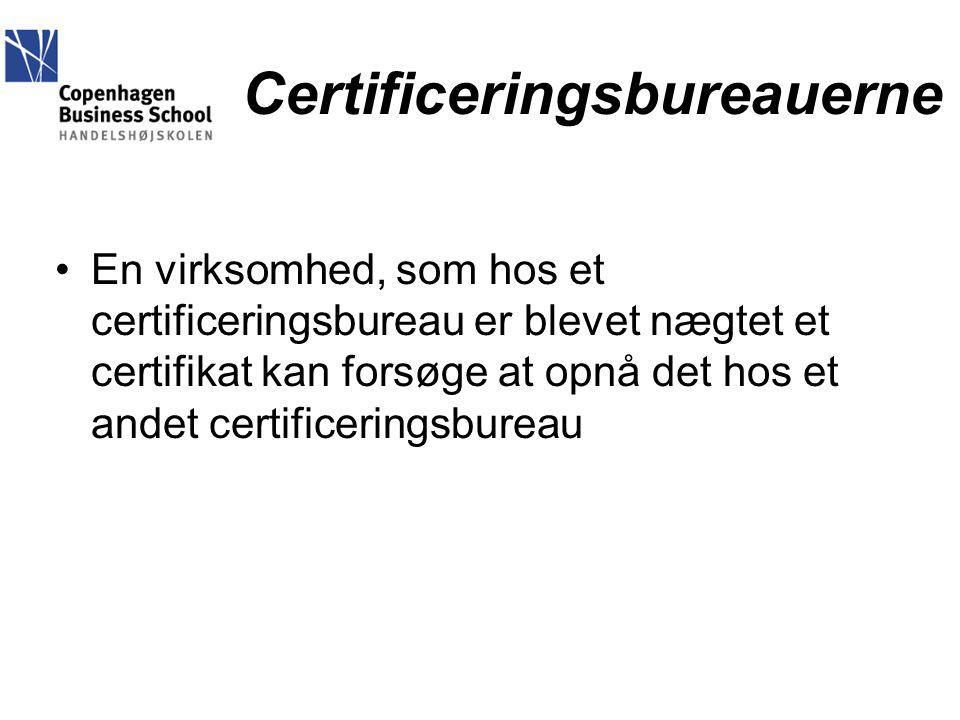 Certificeringsbureauerne En virksomhed, som hos et certificeringsbureau er blevet nægtet et certifikat kan forsøge at opnå det hos et andet certificeringsbureau