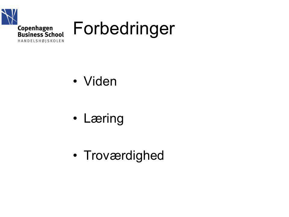 Forbedringer Viden Læring Troværdighed