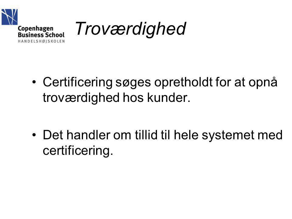 Troværdighed Certificering søges opretholdt for at opnå troværdighed hos kunder.
