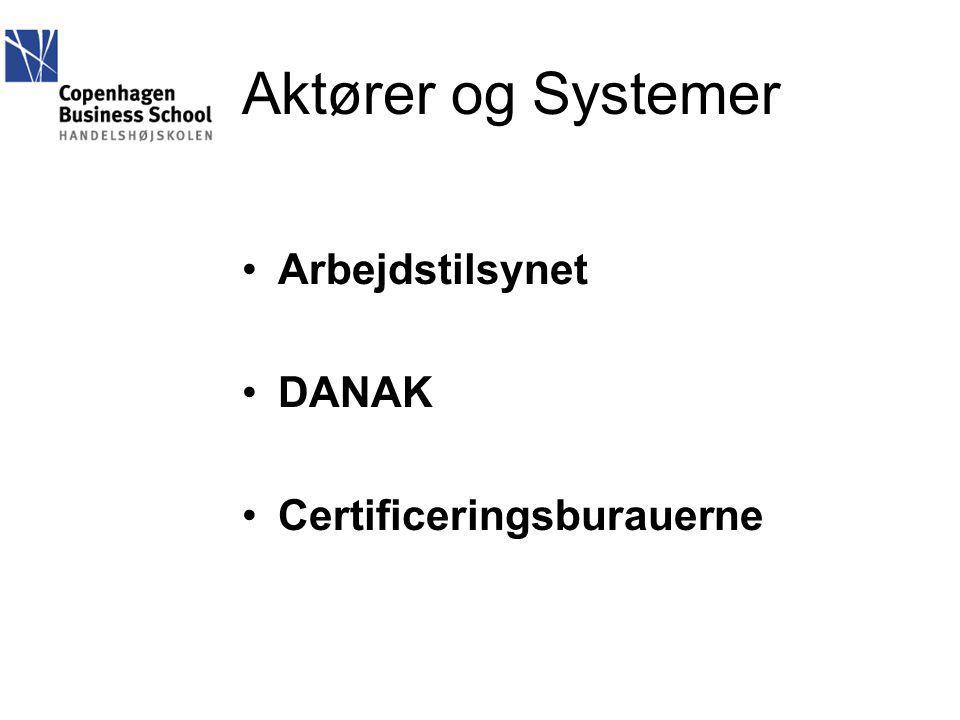 Aktører og Systemer Arbejdstilsynet DANAK Certificeringsburauerne