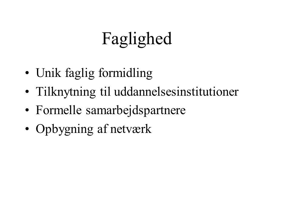 Faglighed Unik faglig formidling Tilknytning til uddannelsesinstitutioner Formelle samarbejdspartnere Opbygning af netværk