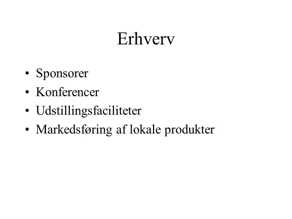 Erhverv Sponsorer Konferencer Udstillingsfaciliteter Markedsføring af lokale produkter