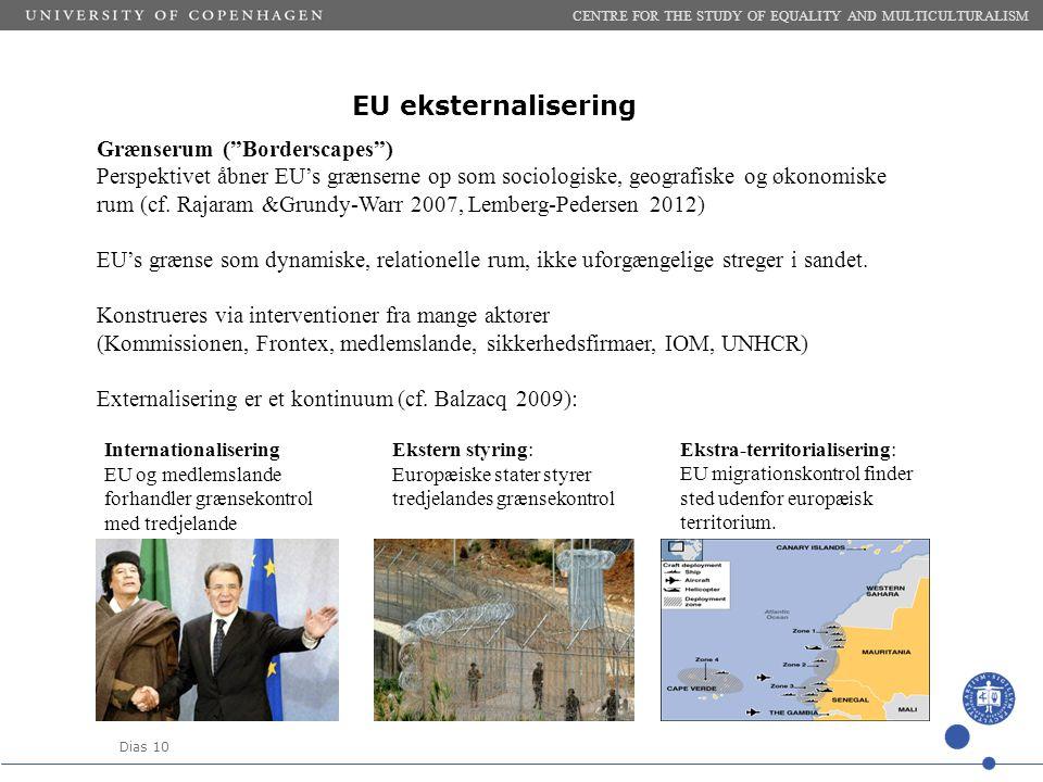 Dias 10 EU eksternalisering CENTRE FOR THE STUDY OF EQUALITY AND MULTICULTURALISM Grænserum ( Borderscapes ) Perspektivet åbner EU's grænserne op som sociologiske, geografiske og økonomiske rum (cf.
