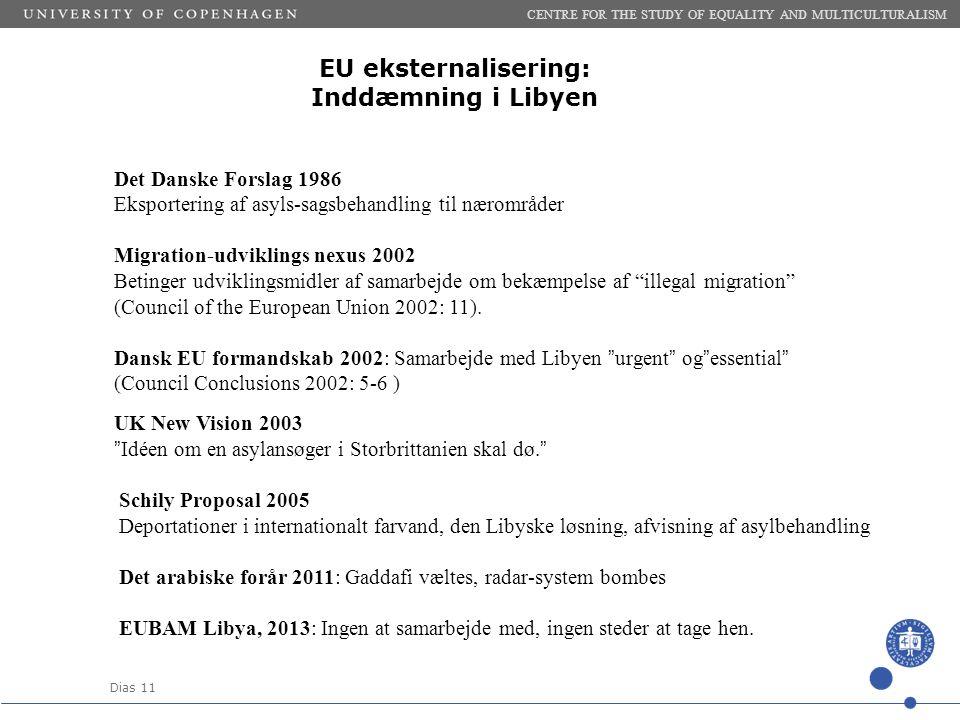 Dias 11 EU eksternalisering: Inddæmning i Libyen CENTRE FOR THE STUDY OF EQUALITY AND MULTICULTURALISM Det Danske Forslag 1986 Eksportering af asyls-sagsbehandling til nærområder Migration-udviklings nexus 2002 Betinger udviklingsmidler af samarbejde om bekæmpelse af illegal migration (Council of the European Union 2002: 11).
