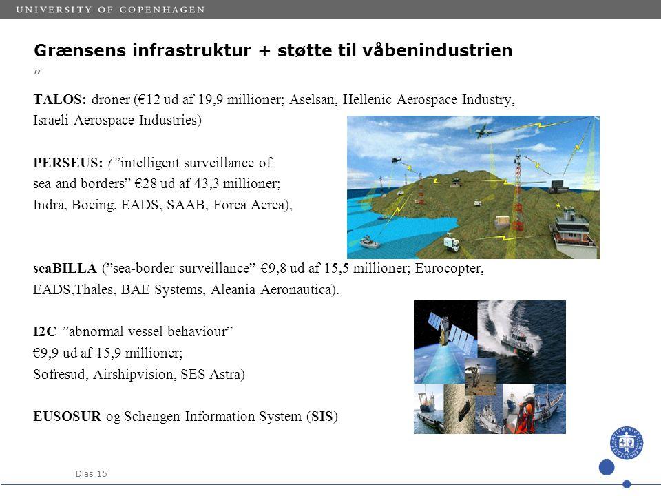 Dias 15 Grænsens infrastruktur + støtte til våbenindustrien TALOS: droner (€12 ud af 19,9 millioner; Aselsan, Hellenic Aerospace Industry, Israeli Aerospace Industries) PERSEUS: ( intelligent surveillance of sea and borders €28 ud af 43,3 millioner; Indra, Boeing, EADS, SAAB, Forca Aerea), seaBILLA ( sea-border surveillance €9,8 ud af 15,5 millioner; Eurocopter, EADS,Thales, BAE Systems, Aleania Aeronautica).