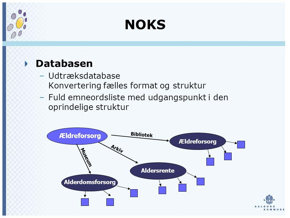 NOKS Databasen –Udtræksdatabase Konvertering fælles format og struktur –Fuld emneordsliste med udgangspunkt i den oprindelige struktur Ældreforsorg Aldersrente Alderdomsforsorg Museum Arkiv Bibliotek