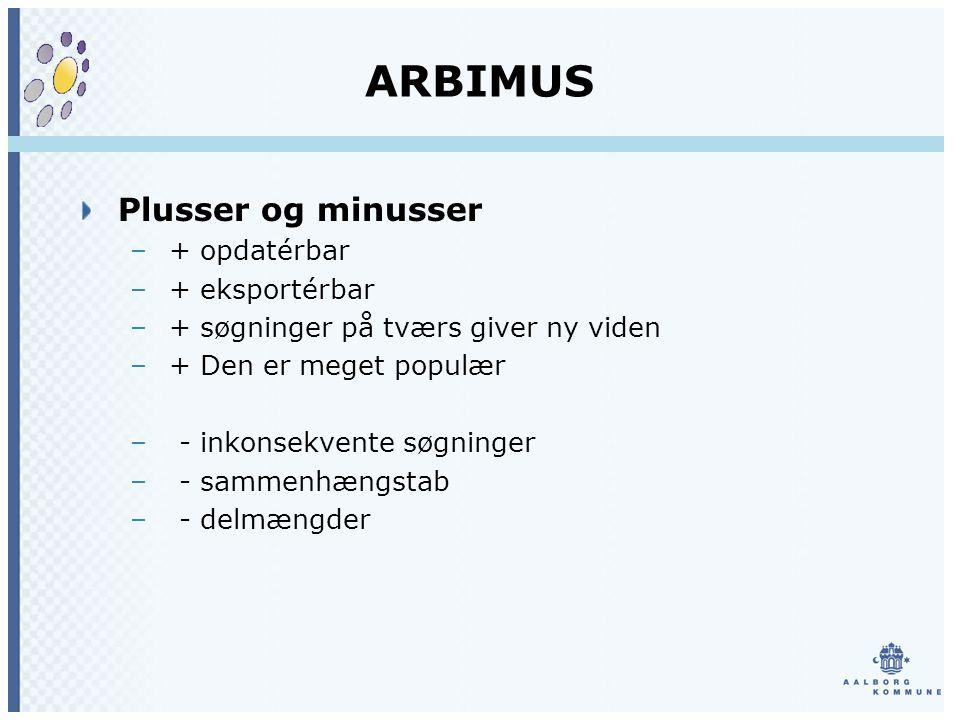 ARBIMUS Plusser og minusser – + opdatérbar – + eksportérbar – + søgninger på tværs giver ny viden – + Den er meget populær – - inkonsekvente søgninger – - sammenhængstab – - delmængder