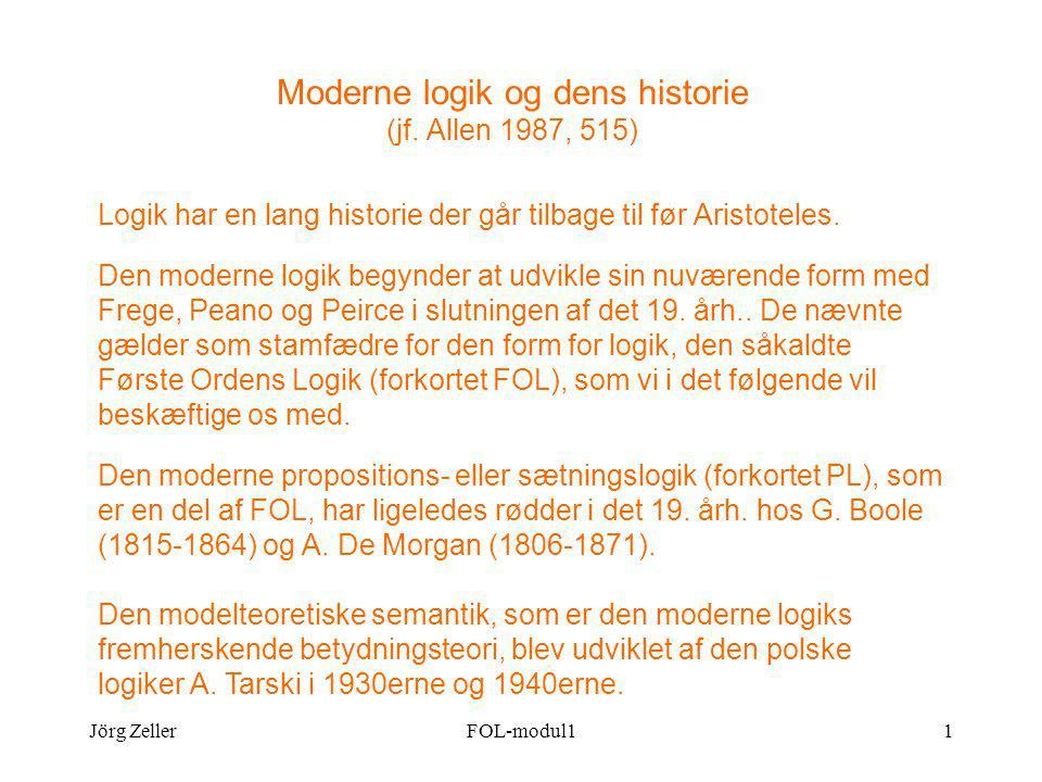 Jörg ZellerFOL-modul11 Moderne logik og dens historie (jf.