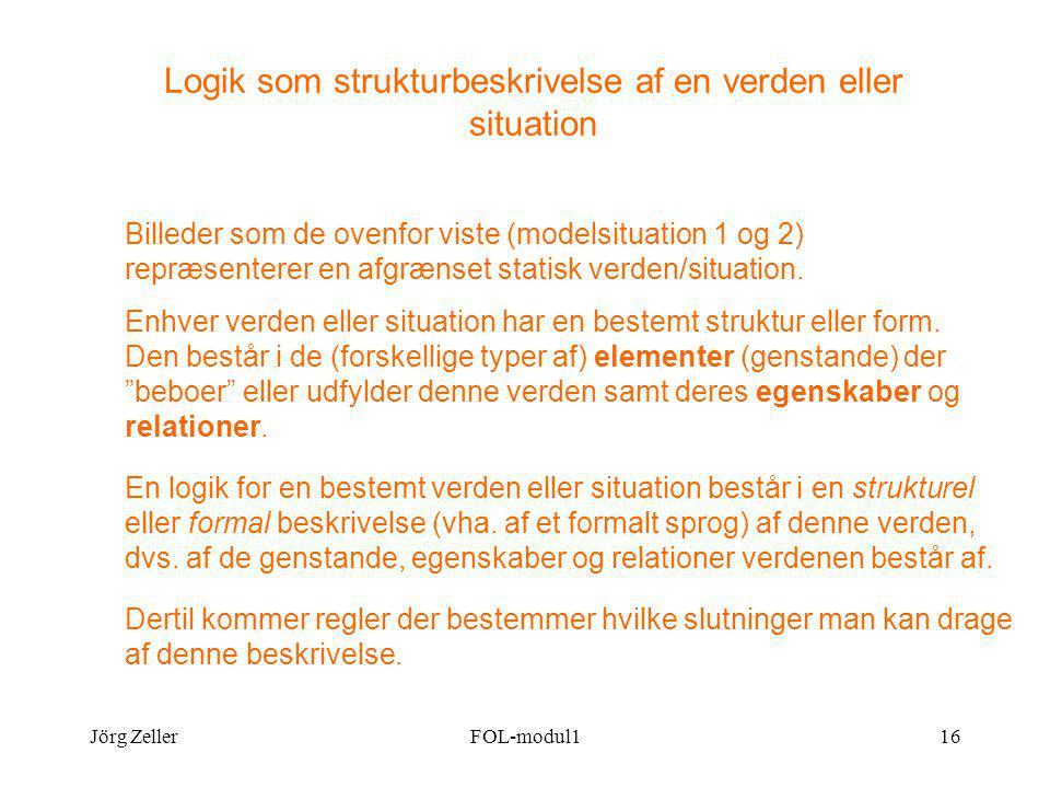 Jörg ZellerFOL-modul116 Logik som strukturbeskrivelse af en verden eller situation Billeder som de ovenfor viste (modelsituation 1 og 2) repræsenterer en afgrænset statisk verden/situation.