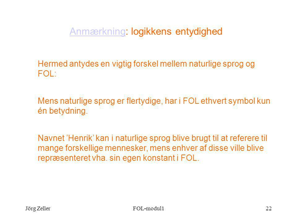 Jörg ZellerFOL-modul122 AnmærkningAnmærkning: logikkens entydighed Hermed antydes en vigtig forskel mellem naturlige sprog og FOL: Mens naturlige sprog er flertydige, har i FOL ethvert symbol kun én betydning.