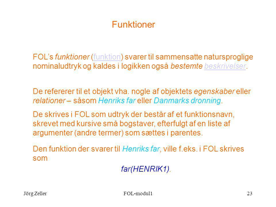 Jörg ZellerFOL-modul123 Funktioner FOL's funktioner (funktion) svarer til sammensatte natursproglige nominaludtryk og kaldes i logikken også bestemte beskrivelser.funktionbeskrivelser De refererer til et objekt vha.