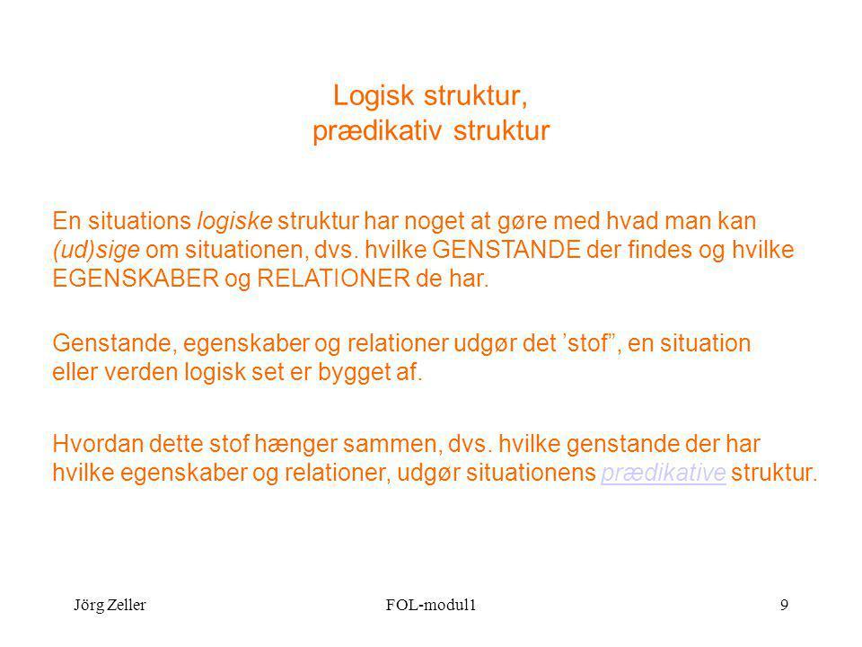 Jörg ZellerFOL-modul19 Logisk struktur, prædikativ struktur En situations logiske struktur har noget at gøre med hvad man kan (ud)sige om situationen, dvs.