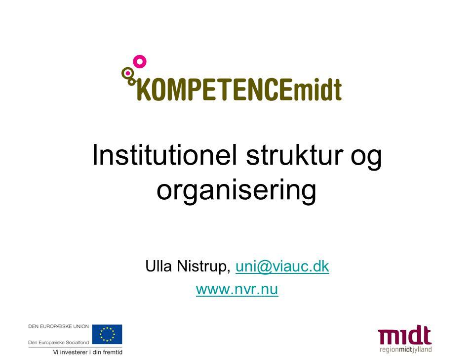 Institutionel struktur og organisering Ulla Nistrup, uni@viauc.dkuni@viauc.dk www.nvr.nu