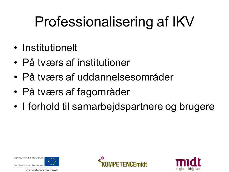 Professionalisering af IKV Institutionelt På tværs af institutioner På tværs af uddannelsesområder På tværs af fagområder I forhold til samarbejdspartnere og brugere