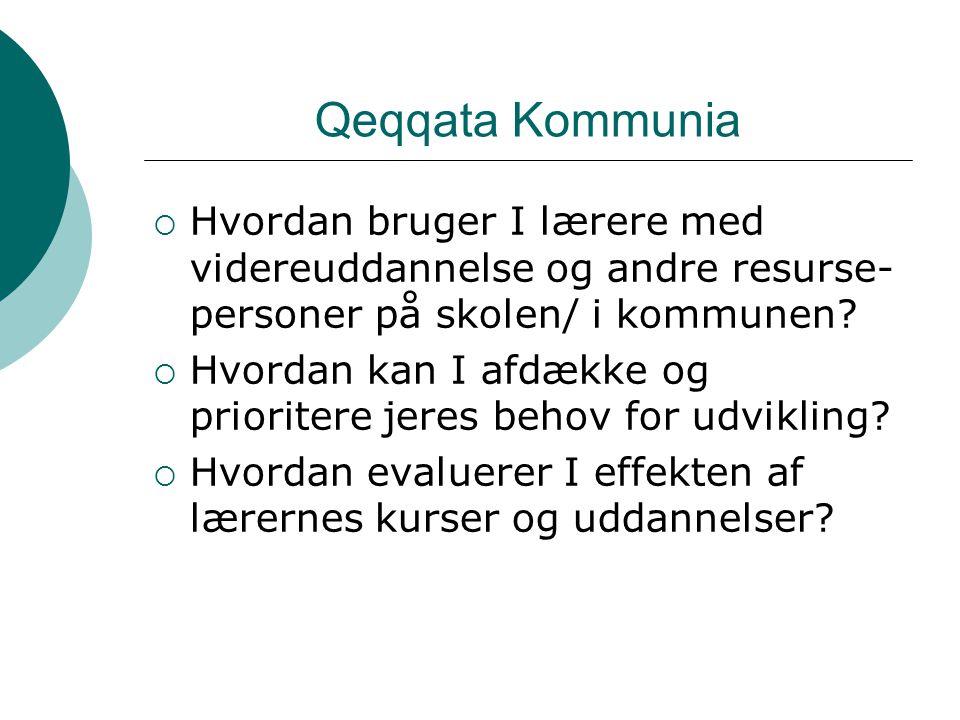 Qeqqata Kommunia  Hvordan bruger I lærere med videreuddannelse og andre resurse- personer på skolen/ i kommunen.