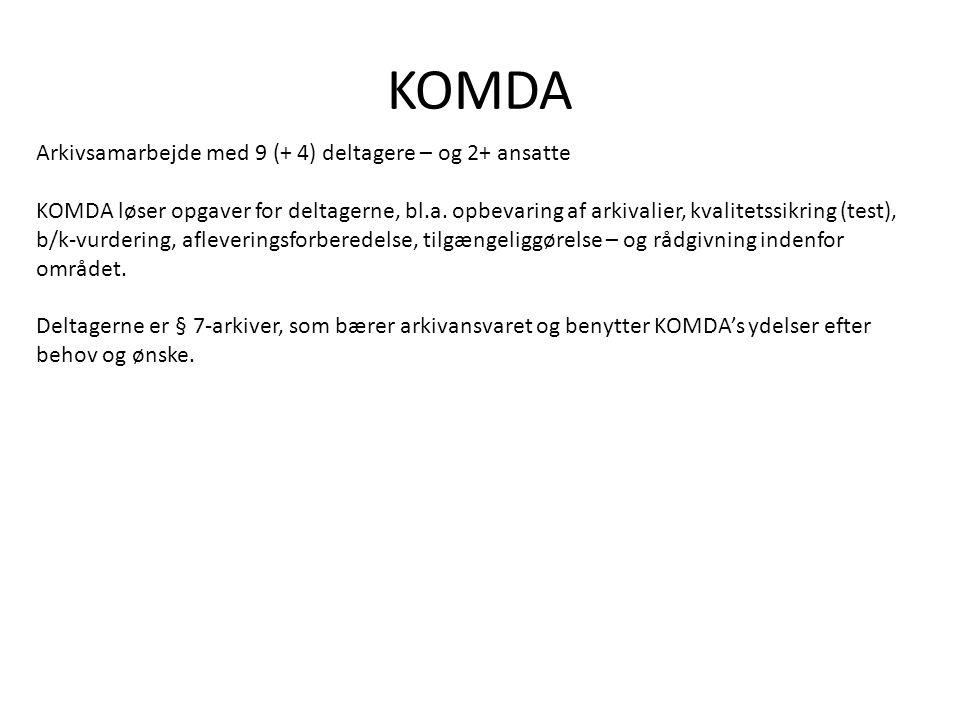 KOMDA Arkivsamarbejde med 9 (+ 4) deltagere – og 2+ ansatte KOMDA løser opgaver for deltagerne, bl.a.