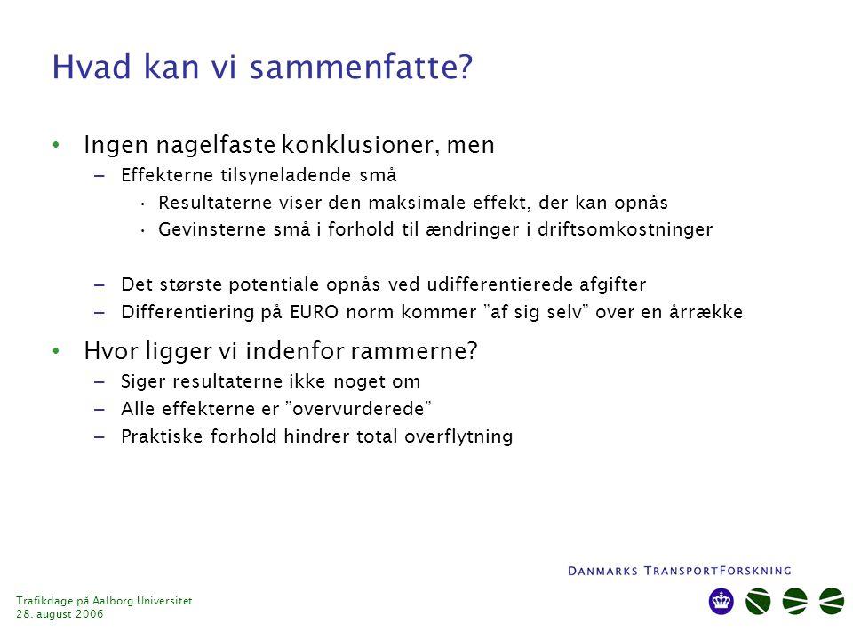 Trafikdage på Aalborg Universitet 28. august 2006 Hvad kan vi sammenfatte.