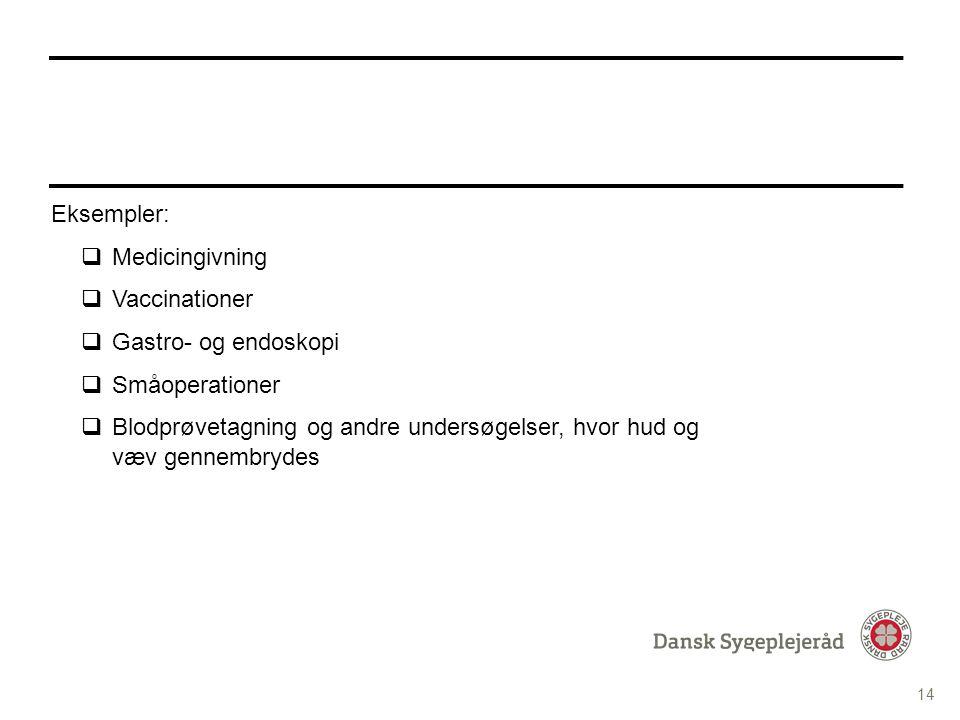 Tekst med Punktopstilling PUNKTOPSTILLING For at skifte til Underoverskrift i Fed tekst tryk fire gange på denne knap i topmenuen For at komme tilbage til de forskellige bulletdesign tryk på denne knap i topmenuen INDHOLDSSIDE MED PUNKTOPSTILLING Eksempler:  Medicingivning  Vaccinationer  Gastro- og endoskopi  Småoperationer  Blodprøvetagning og andre undersøgelser, hvor hud og væv gennembrydes 14