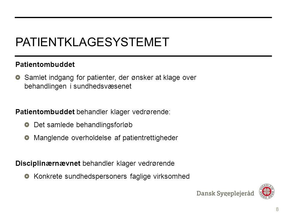 Tekst med Punktopstilling PUNKTOPSTILLING For at skifte til Underoverskrift i Fed tekst tryk fire gange på denne knap i topmenuen For at komme tilbage til de forskellige bulletdesign tryk på denne knap i topmenuen INDHOLDSSIDE MED PUNKTOPSTILLING PATIENTKLAGESYSTEMET Patientombuddet Samlet indgang for patienter, der ønsker at klage over behandlingen i sundhedsvæsenet Patientombuddet behandler klager vedrørende: Det samlede behandlingsforløb Manglende overholdelse af patientrettigheder Disciplinærnævnet behandler klager vedrørende Konkrete sundhedspersoners faglige virksomhed 8