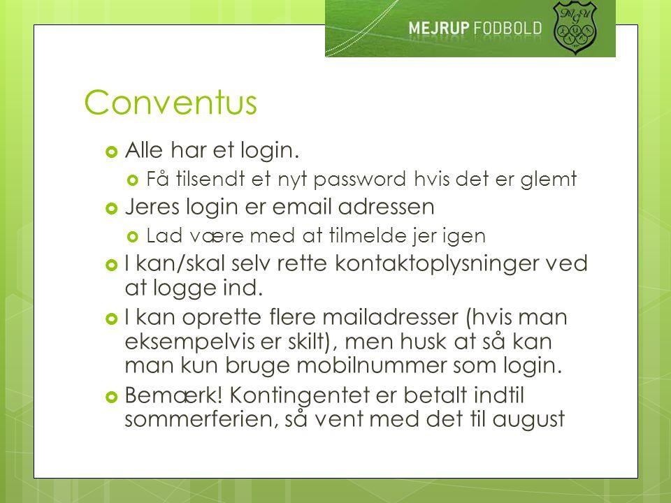 Conventus  Alle har et login.