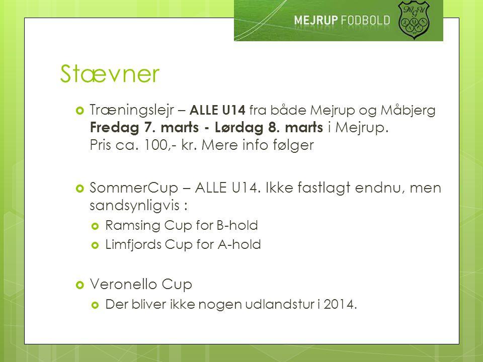 Stævner  Træningslejr – ALLE U14 fra både Mejrup og Måbjerg Fredag 7.