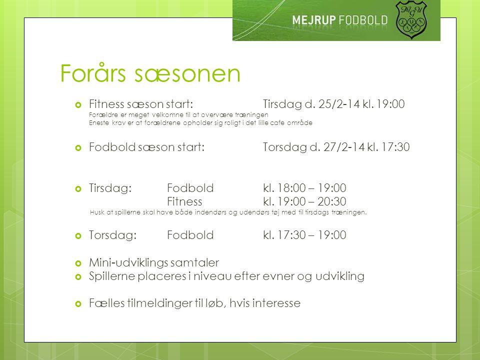 Forårs sæsonen  Fitness sæson start: Tirsdag d. 25/2-14 kl.