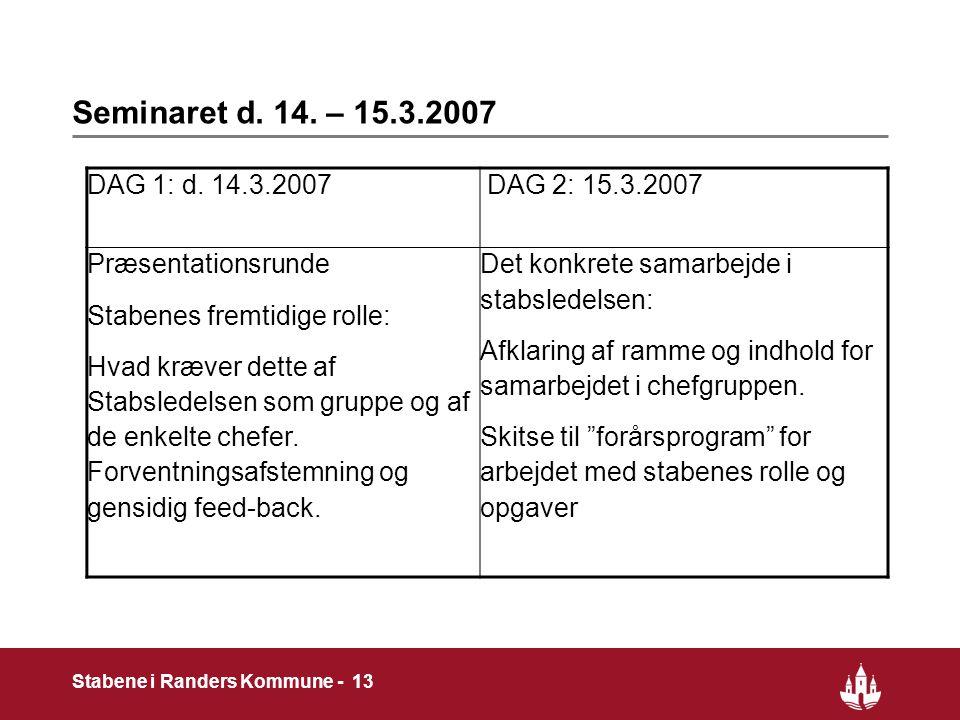 13 Stabene i Randers Kommune - 13 Seminaret d. 14.