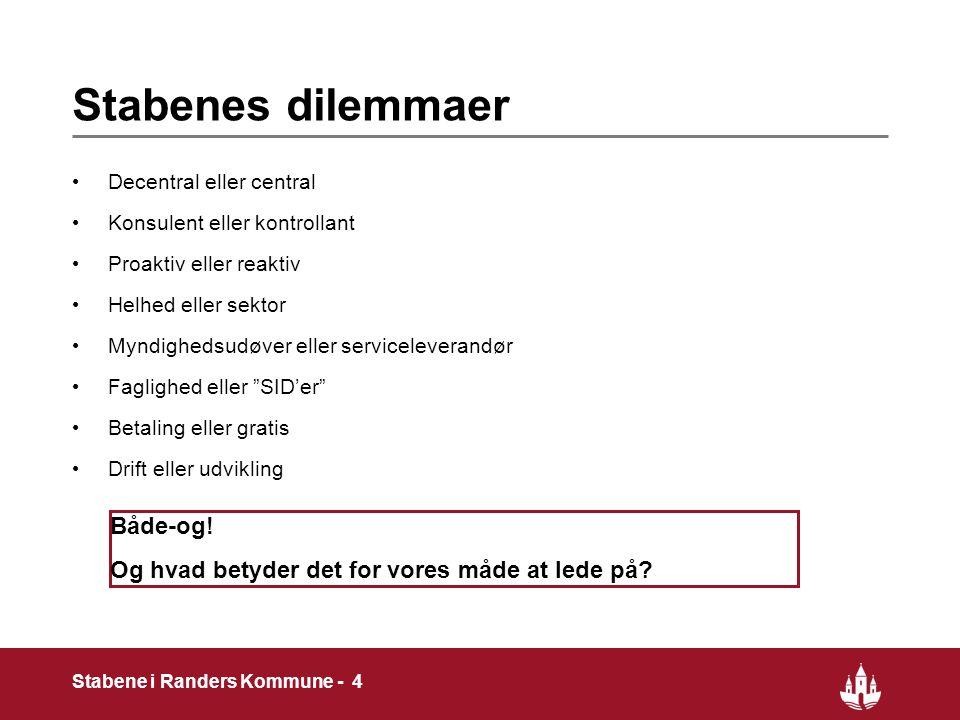 4 Stabene i Randers Kommune - 4 Stabenes dilemmaer Decentral eller central Konsulent eller kontrollant Proaktiv eller reaktiv Helhed eller sektor Myndighedsudøver eller serviceleverandør Faglighed eller SID'er Betaling eller gratis Drift eller udvikling Både-og.
