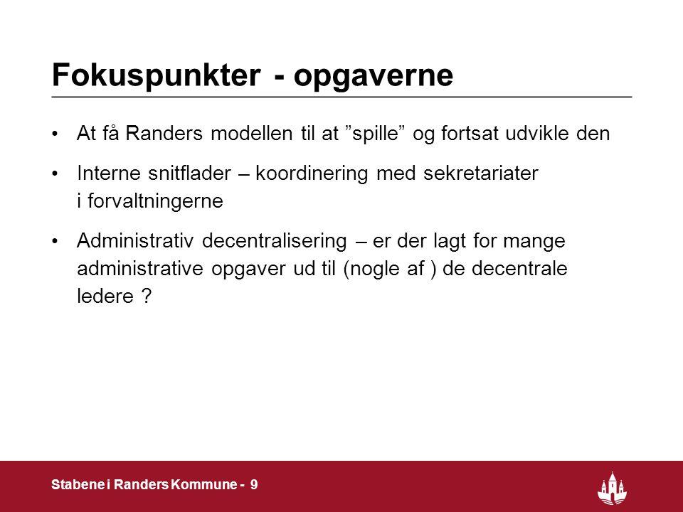 9 Stabene i Randers Kommune - 9 Fokuspunkter - opgaverne At få Randers modellen til at spille og fortsat udvikle den Interne snitflader – koordinering med sekretariater i forvaltningerne Administrativ decentralisering – er der lagt for mange administrative opgaver ud til (nogle af ) de decentrale ledere