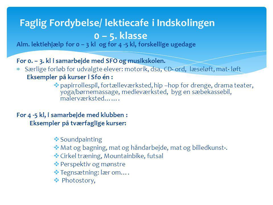 Alm. lektiehjælp for 0 – 3 kl og for 4 -5 kl, forskellige ugedage For 0.