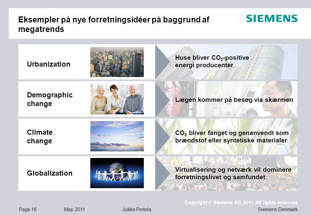Page 16 May 2011 Copyright © Siemens AG 2011.
