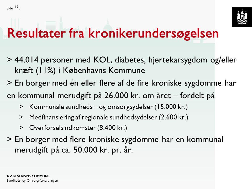 Side/ Dias titel: Gill Sans Bold 40pt (ALL CAPS) Body tekst: Gill Sans 25pt KØBENHAVNS KOMMUNE Sundheds- og Omsorgsforvaltningen Afdelingsnavn (Gill Sans 10pt) Kopier til slide master for at se tekst på alle slides Resultater fra kronikerundersøgelsen  44.014 personer med KOL, diabetes, hjertekarsygdom og/eller kræft (11%) i Københavns Kommune  En borger med én eller flere af de fire kroniske sygdomme har en kommunal merudgift på 26.000 kr.