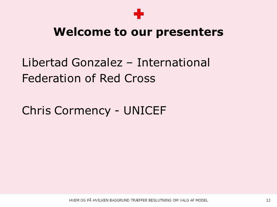 Animation på teksten Welcome to our presenters HVEM OG PÅ HVILKEN BAGGRUND TRÆFFER BESLUTNING OM VALG AF MODEL12 Libertad Gonzalez – International Federation of Red Cross Chris Cormency - UNICEF