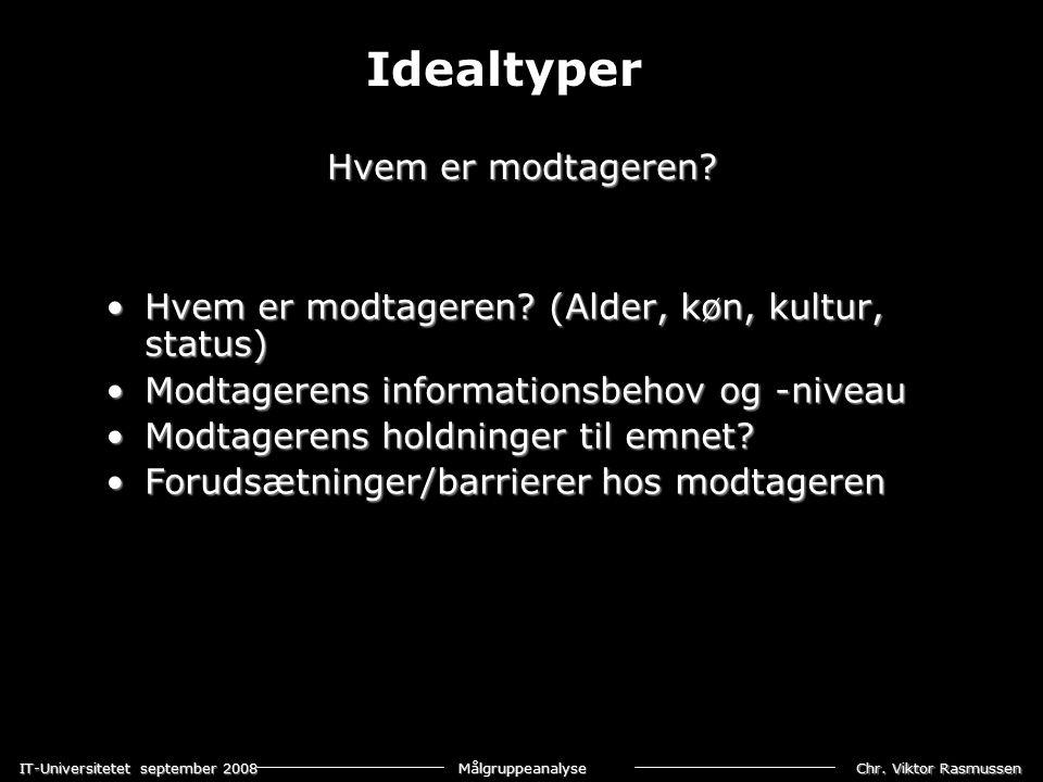 Chr. Viktor Rasmussen IT-Universitetet september 2008 Målgruppeanalyse Hvem er modtageren.