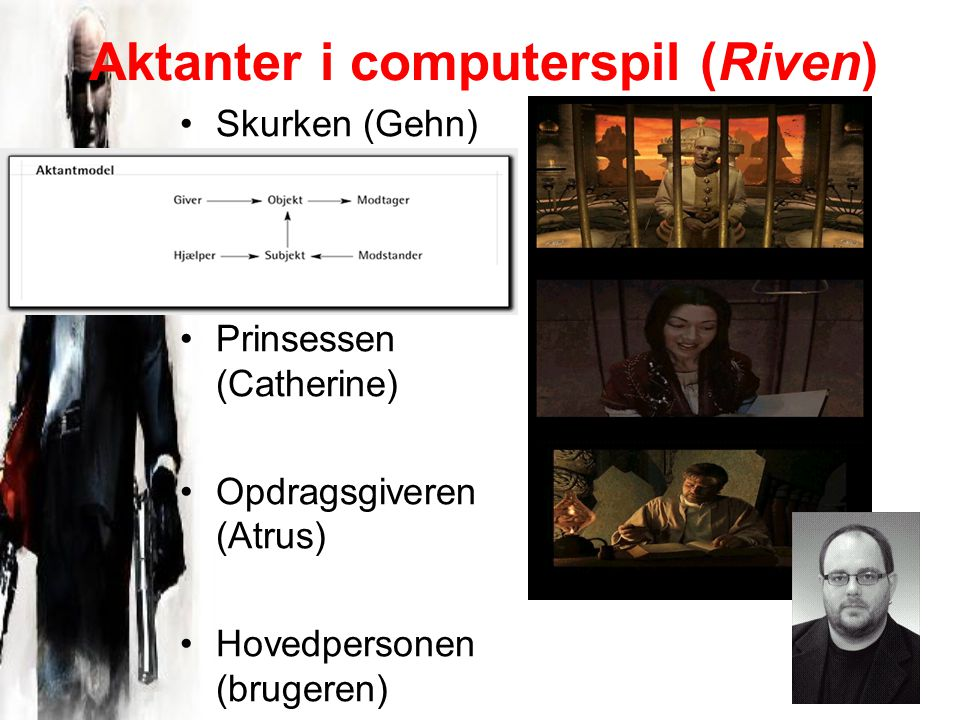Aktanter i computerspil (Riven) Skurken (Gehn) Prinsessen (Catherine) Opdragsgiveren (Atrus) Hovedpersonen (brugeren)