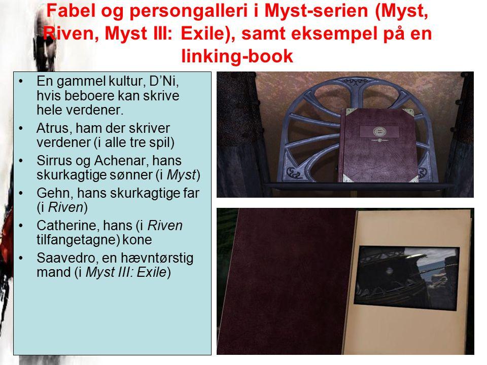 Fabel og persongalleri i Myst-serien (Myst, Riven, Myst III: Exile), samt eksempel på en linking-book En gammel kultur, D'Ni, hvis beboere kan skrive hele verdener.