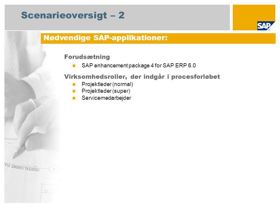Scenarieoversigt – 2 Forudsætning SAP enhancement package 4 for SAP ERP 6.0 Virksomhedsroller, der indgår i procesforløbet Projektleder (normal) Projektleder (super) Servicemedarbejder Nødvendige SAP-applikationer: