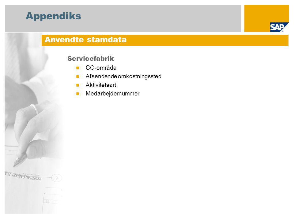 Appendiks Servicefabrik CO-område Afsendende omkostningssted Aktivitetsart Medarbejdernummer Anvendte stamdata