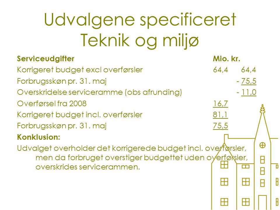 Udvalgene specificeret Teknik og miljø ServiceudgifterMio.
