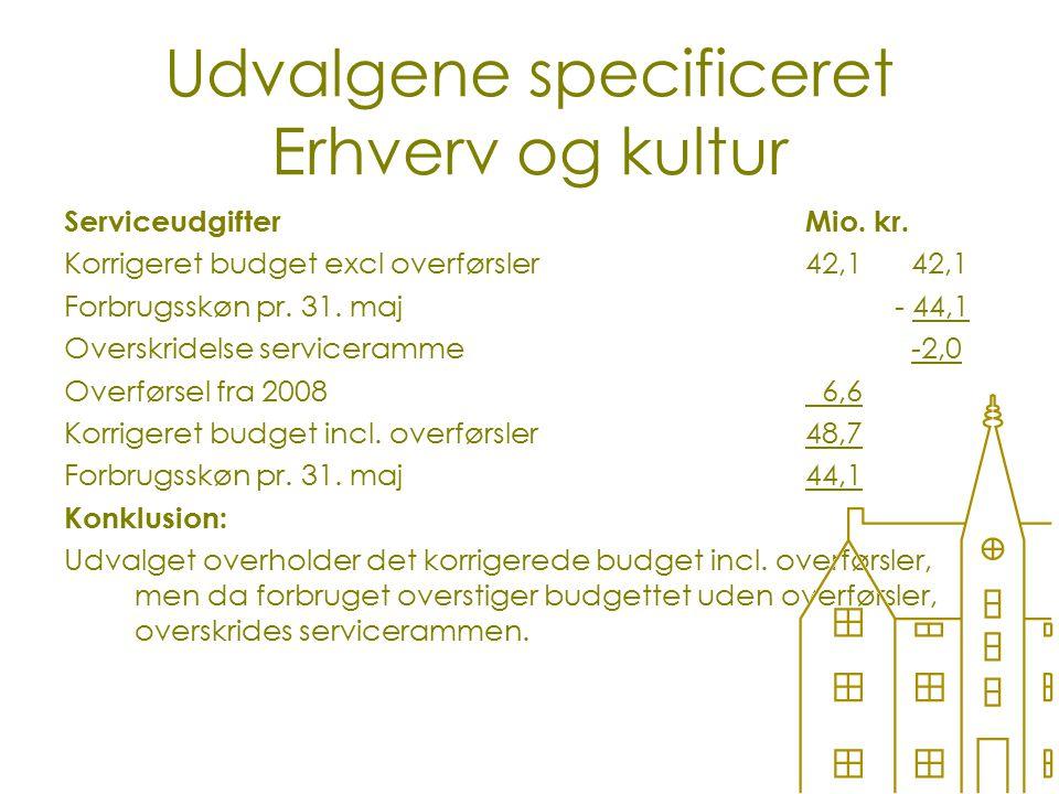 Udvalgene specificeret Erhverv og kultur ServiceudgifterMio.
