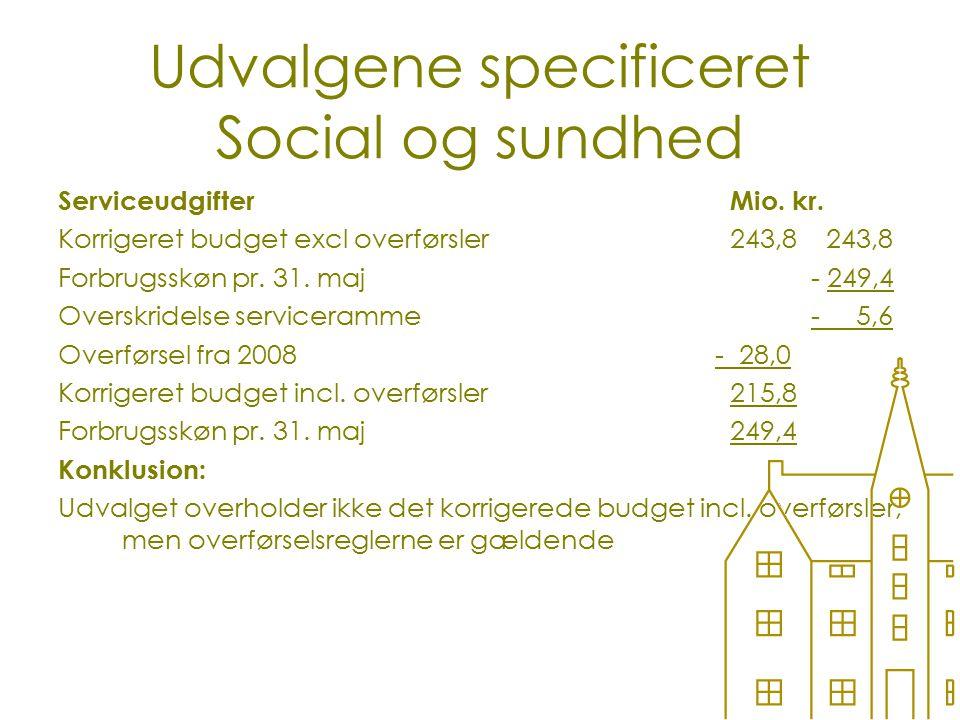 Udvalgene specificeret Social og sundhed ServiceudgifterMio.