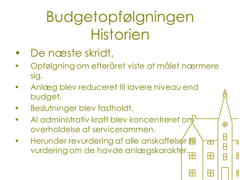 Budgetopfølgningen Historien De næste skridt. Opfølgning om efteråret viste at målet nærmere sig.