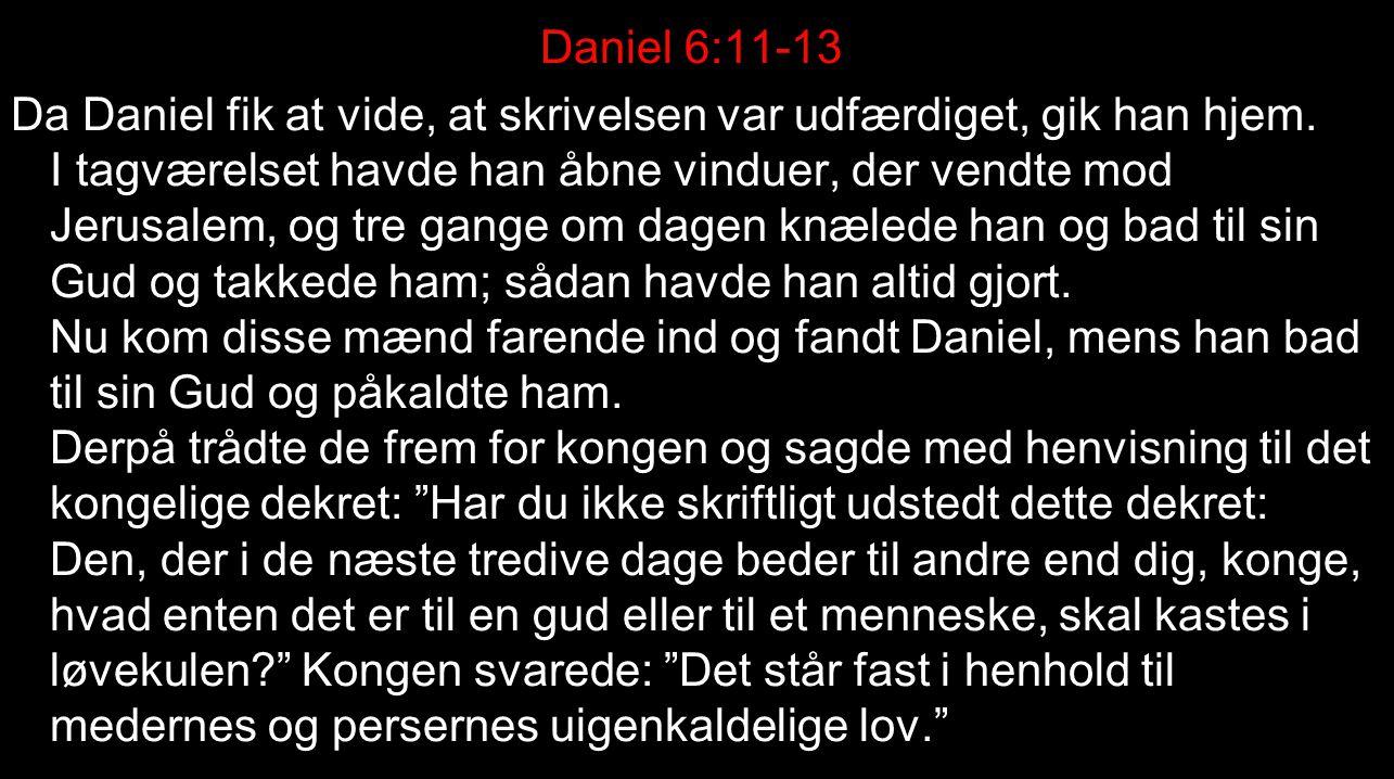 Daniel 6:11-13 Da Daniel fik at vide, at skrivelsen var udfærdiget, gik han hjem.