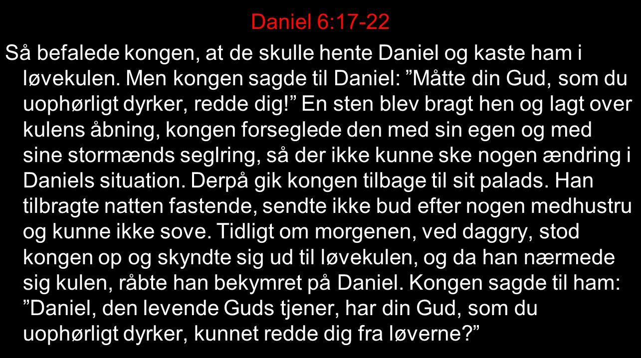Daniel 6:17-22 Så befalede kongen, at de skulle hente Daniel og kaste ham i løvekulen.