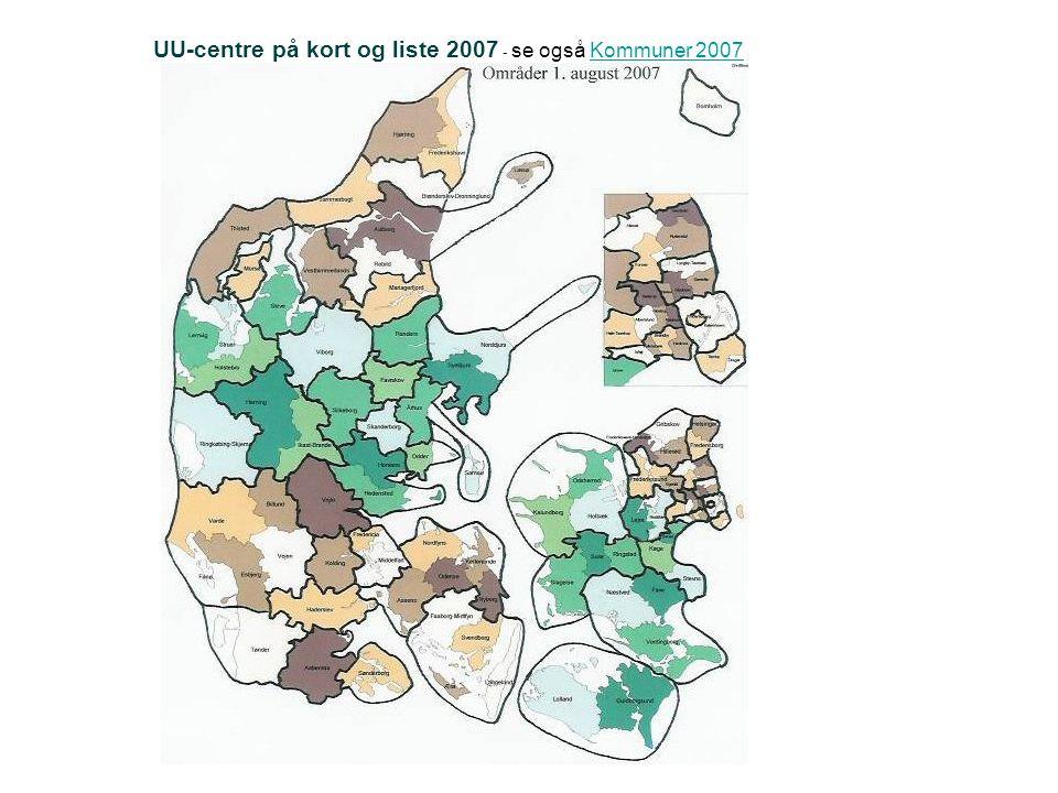 UU-centre på kort og liste 2007 - se også Kommuner 2007Kommuner 2007