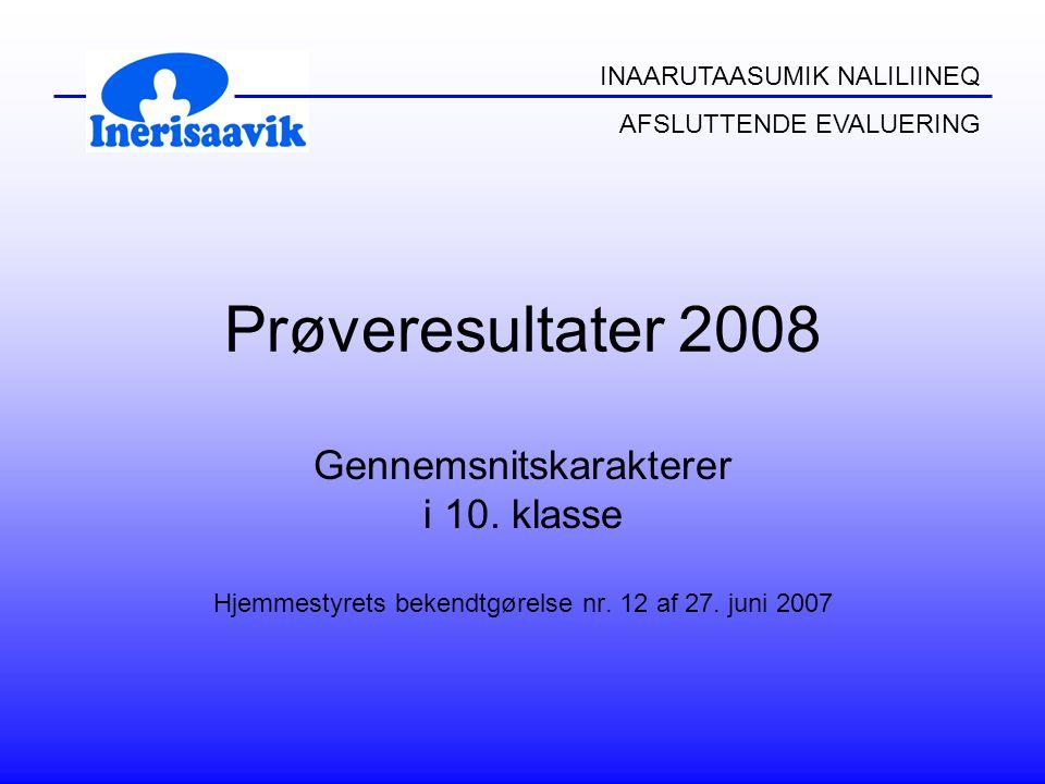 INAARUTAASUMIK NALILIINEQ AFSLUTTENDE EVALUERING Prøveresultater 2008 Gennemsnitskarakterer i 10.